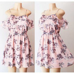 NEW Pink Floral Ruffle Cold Shoulder Chiffon Dress